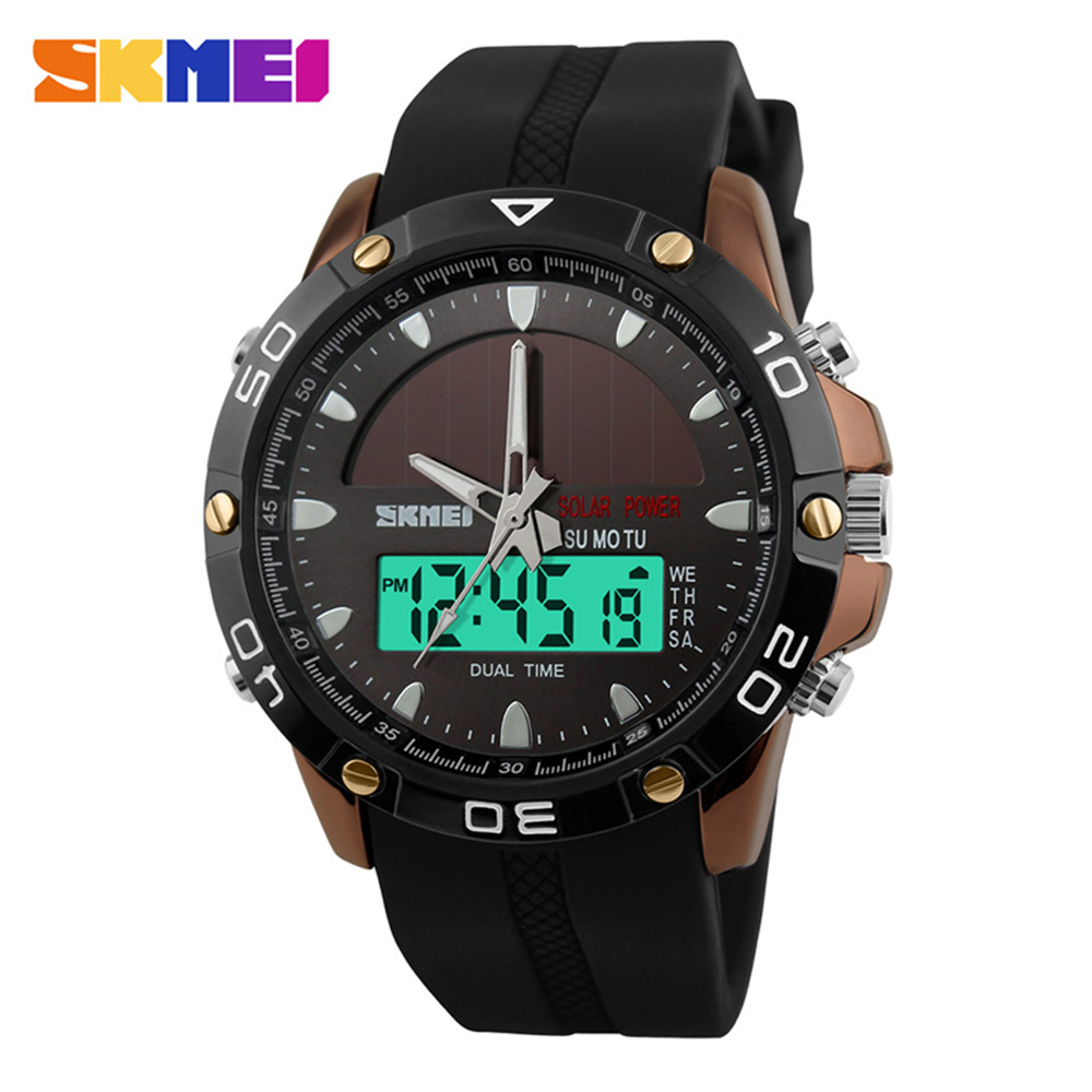 SKMEI Classic Sport Quartz Solar Watch Men Top Brand Luxury Dual Display Military Waterproof Wristwatches Reloj Hombre DeportivoSKMEI Classic Sport Quartz Solar Watch Men Top Brand Luxury Dual Display Military Waterproof Wristwatches Reloj Hombre Deportivo