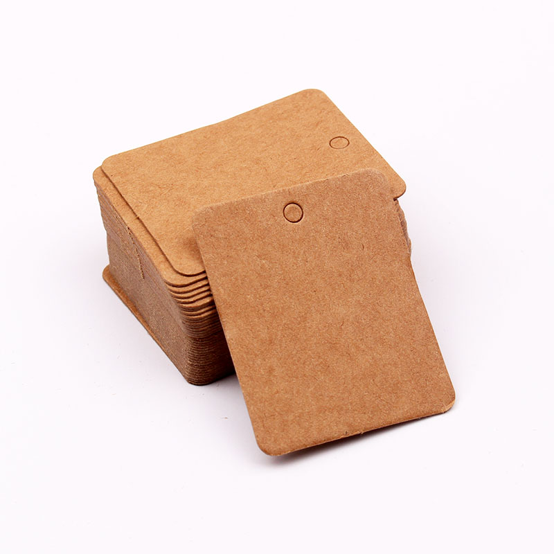 Wholesale 100Pcslot Kraft Paper Cards 3x4cm Brown Cardboard Hang Tags Square Shape Jewelry Display Cards Price Label Tag