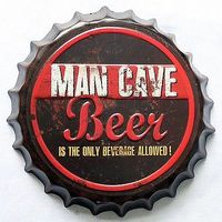 35cm Round Man Cave Beer Bottle Cap Tin Sign Bar pub home Wall Decor Metal art Poster