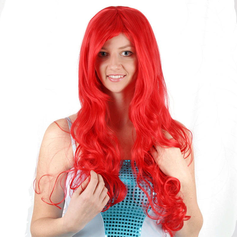 Hot Anime The Little Mermaid Princess Ariel Cosplay Wig Halloween Play Wig Party Stage High Quality Red Long Hair