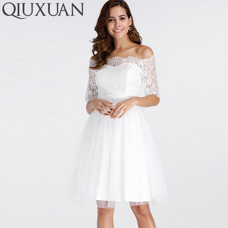 QIUXUAN White Jacquard Lace Sleeve Scallop Edge High Waist A-Line Dress Summer Fashion Women Off The Shoulder Mesh Dress