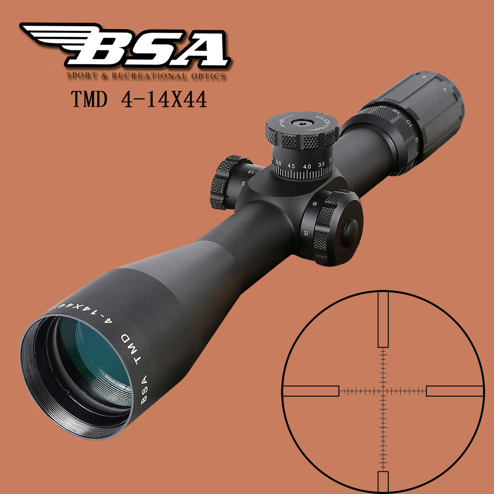 BSA TMD 4-14X44 FFP Hunting Riflescope First Focal Plane Glass Mil Dot Reticle Tactical Optics Sight Side Parallax Rifle Scope joufou 4 16x40aol tactical rifle scope optical sights full size mil dot rgb llluminate wire reticle hunting riflescope for rifle