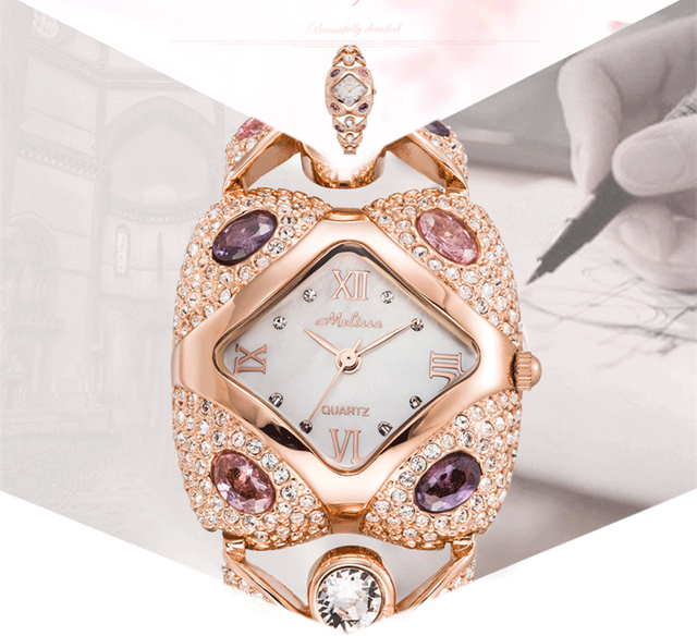 HOT SALE MELISSA Bangle Watch Women Luxury Rhinestone Bracelet Wrist watches Vintage Palace Square Watches Montre Femme F8016