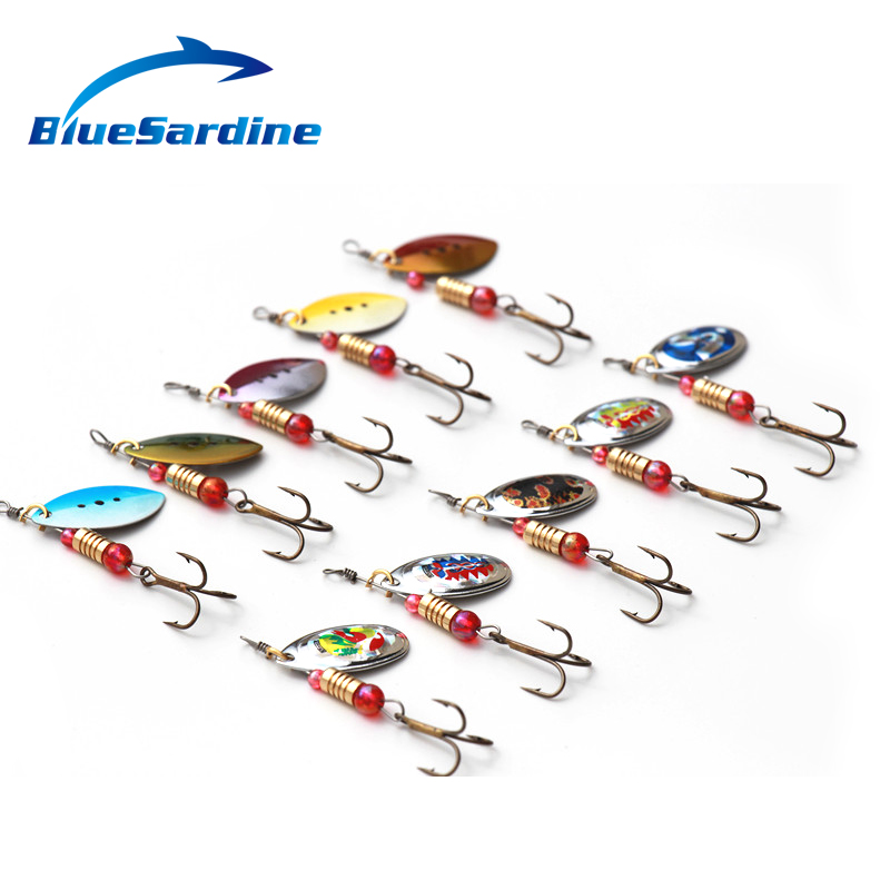 Bluesardine 10pcs spinner bait metal spoon lure hard for Spinner fishing lures
