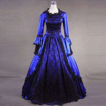 European Court Blue Gothic Victorian historical Dress Long Sleeve Lace Ruffles Masquerade Ball Gowns Costume