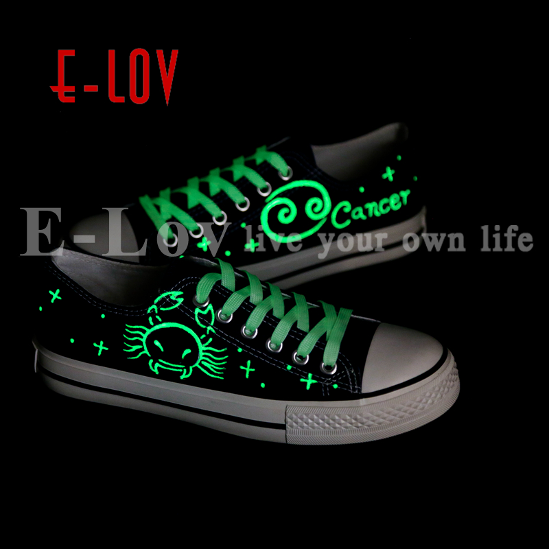 E-LOV Unique Luminous Light Canvas Shoes Hand Painted Horoscope Cancer Shoes Design For Lovers Best Valentine Gifts viruses cell transformation and cancer 5