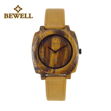 BEWELL Wood Watch Women Watches 2016 Top Brand Wristwatch Watchband-leather Woman Quartz  Relogio Feminino with Paper Box 098B