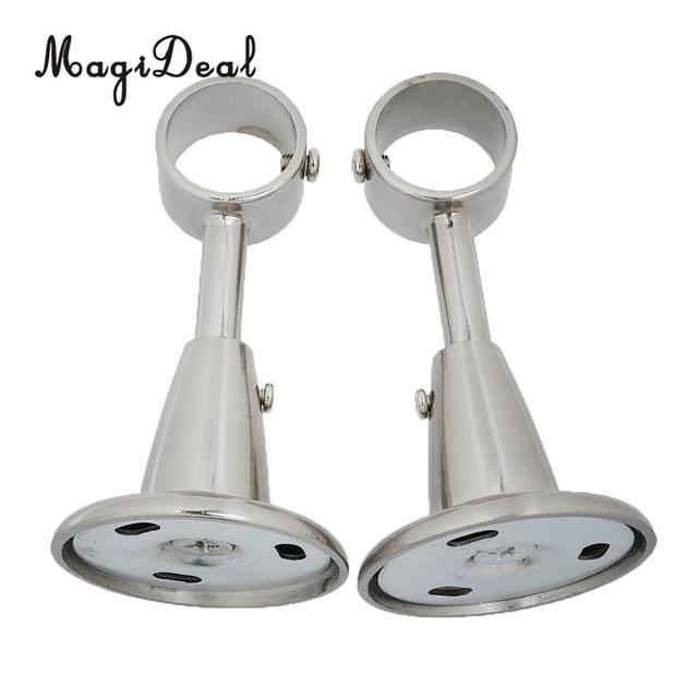 MagiDeal 2Pcs Aluminum Alloy Curtain Rod Pole Holder Wall Mounted Bracket Base For Living Room Home