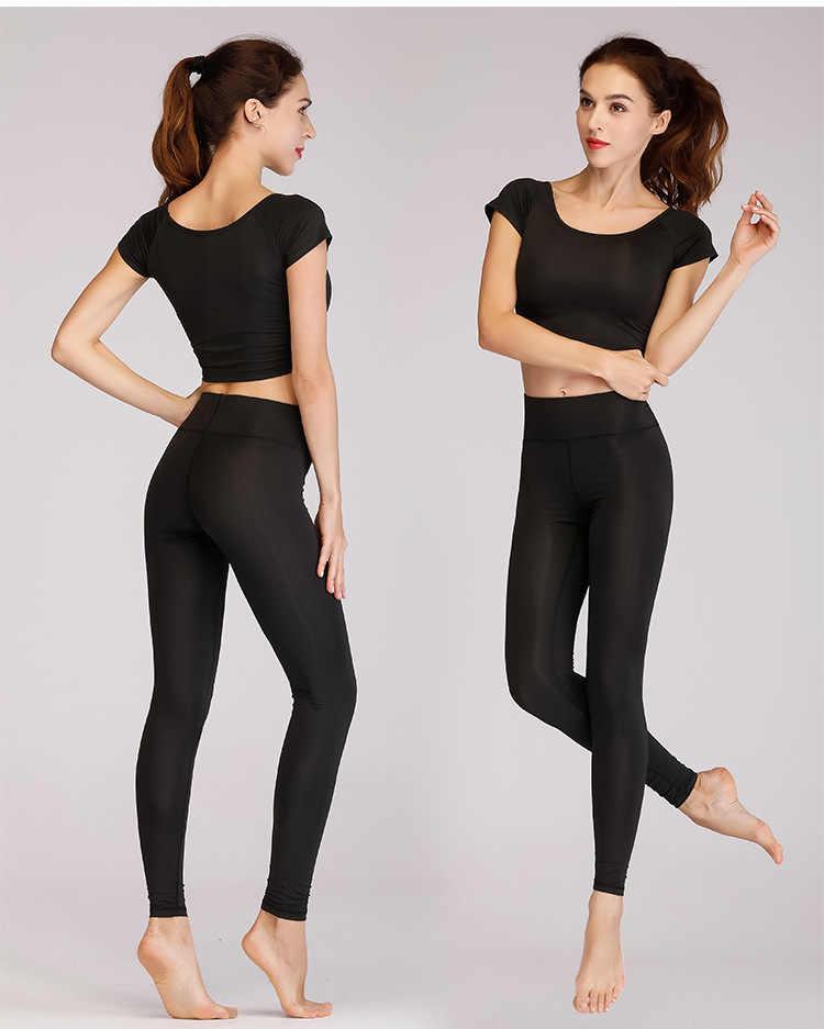 PENERAN Black Fitness Suit Female 2019 Dry Fit Crop Top Leggings Workout Set Women Brand Comfortable Gym Woman Sportswear XL