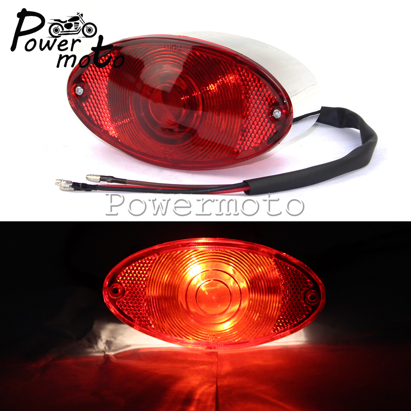 Motorcycle 12V Chrome Cat Eye Taillight Lucas Style Tail Brake Stop Light License Plate Lamp For Harley Bobber Chopper Custom