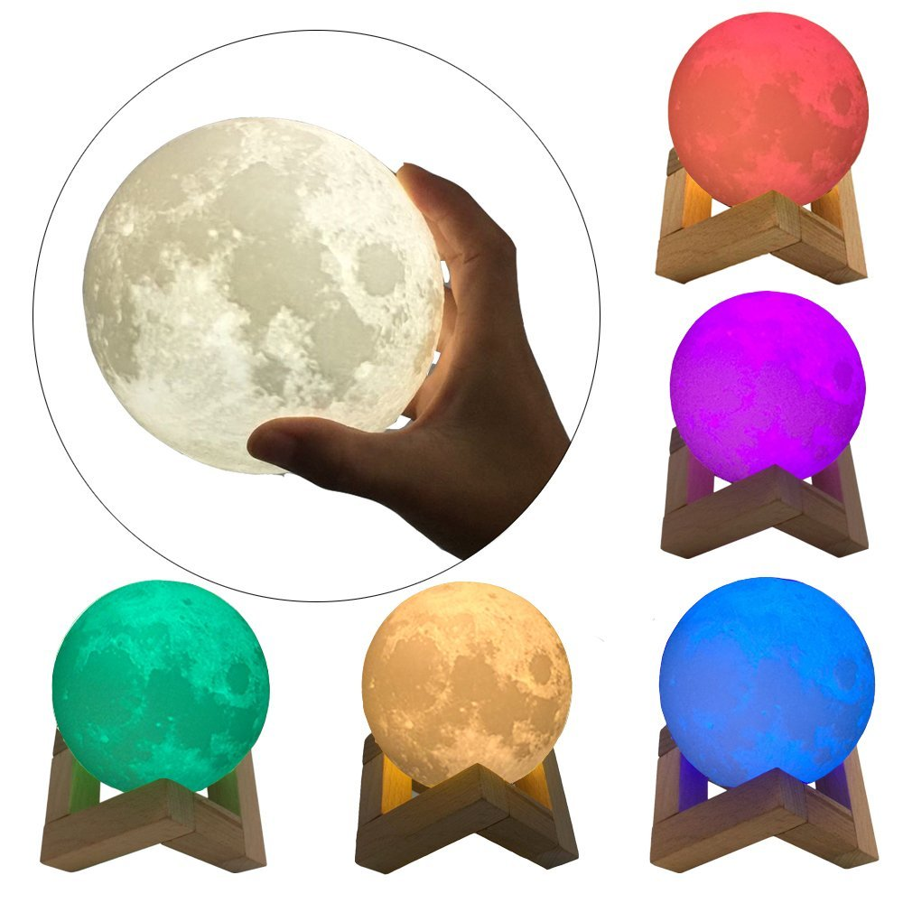 7Color Moon Lamp LED Night Light Rechargeable 3D Print Moonlight Table Lamp For Kids Gift Bedroom Home Decor Creative Lighting