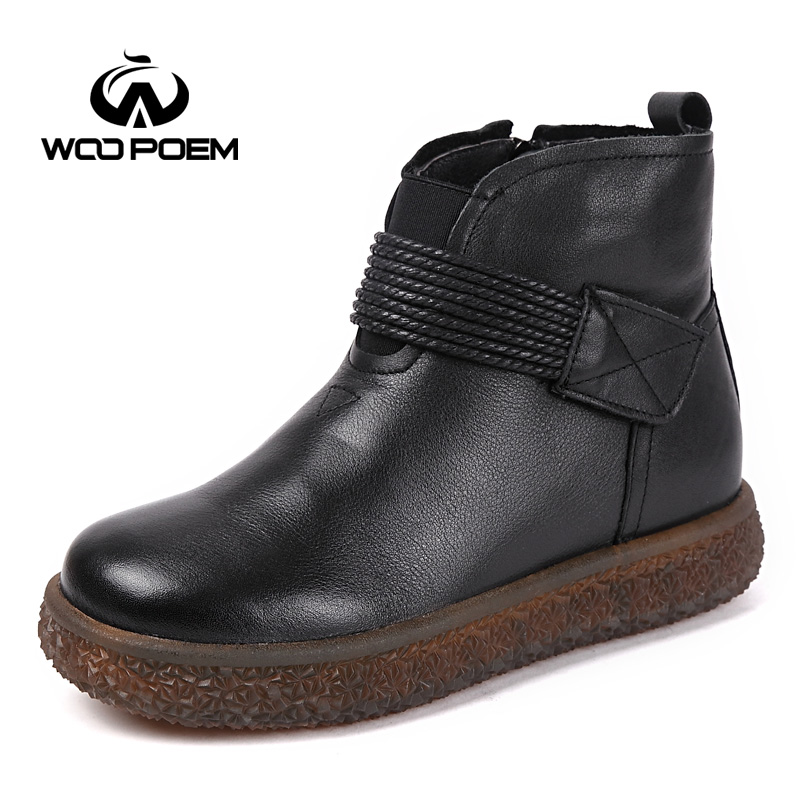 WooPoem Winter Shoes Woman Genuine Leather Boots Low Heel Ankle Boots Platform Flat With Women Boots Plush Winter Boots 092-3 woopoem brand winter shoes woman genuine leather boots low flat heel ankle boots rivet motorcycle boots retro women boots 510 l1