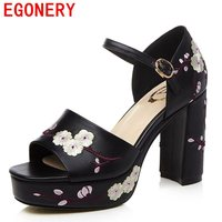 EGONERY Women Leather Sandals 2017 Black Shoes 10 Cm High Heels Platform High Heels Open Toe