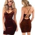 Рукавов Sexy Backless Dress bodycon Золото Бархат Платья Глубокий V-образным Вырезом Жгут Dress Выше Колена Пакет Хип Vestidos