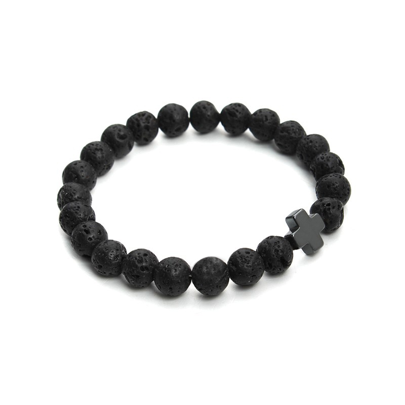 2017 New 8mm Natural Lava Stone Beaded Bracelet Men Hemae Gallstone Cross Bracelets Pulseras Hombre Yoga Jewelry F3761 Whole Dangle