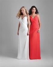 2015 New Stylish Spaghetti Straps V-nack Cross Back Chiffon Bridesmaid Dresses Long Prom Dresses Rendas Do Vestido Longo