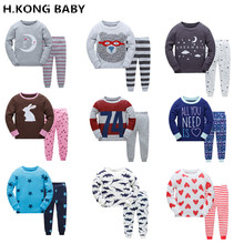 H.kong baby Boy Pajamas Set Cartoon kids Sleepwear Girls cute Home pajamas Children Pajamas Set Girls cotton pyjamas size 2-7Y