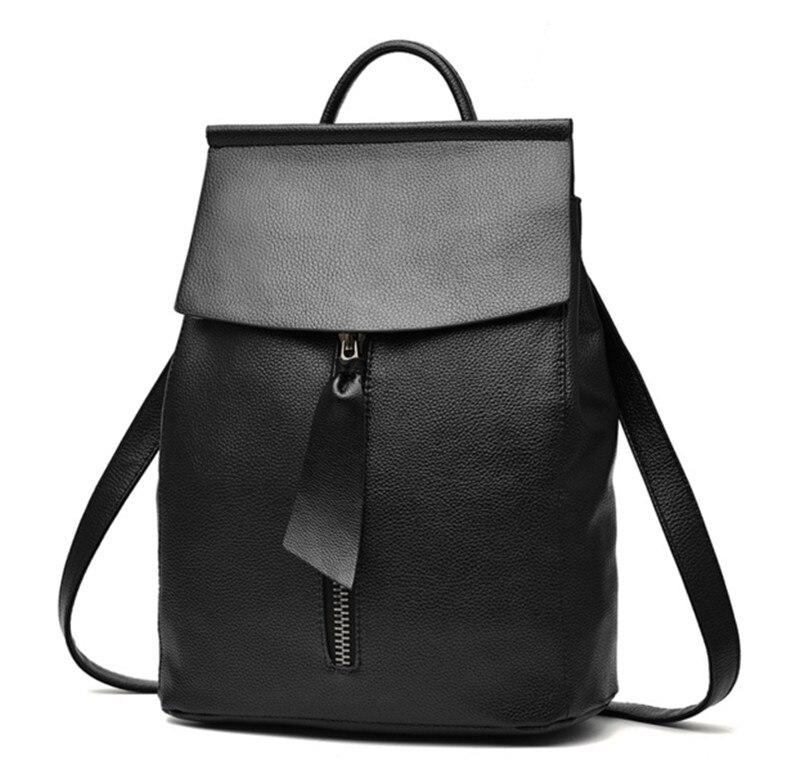 90ac0e7f89e9 New 2017 women leather backpack small minimalist solid black school bags  for teenagers girls feminine backpack