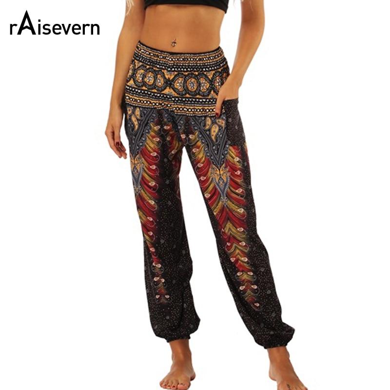 Raisevern Vintage Print Women Casual Pants Summer Boho Beach Elastic High Waist Chiffon Trousers Sporting Pants Dropship
