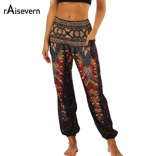 bf9b5098cd31 Raisevern Vintage Print Women Casual Pants 2018 Summer Boho Beach Elastic  High Waist Chiffon Trousers Sporting Pants Dropship