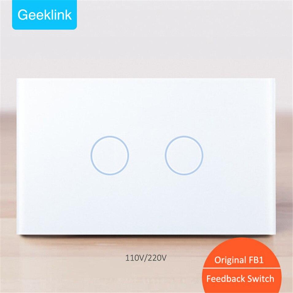 New Original Geeklink NOUS 118 Rétroaction dans les Deux sens Interrupteur 2 gang WIFI Tactile Télécommande AC110V/220 v 10A pour RemoteBox 3 s Penseur