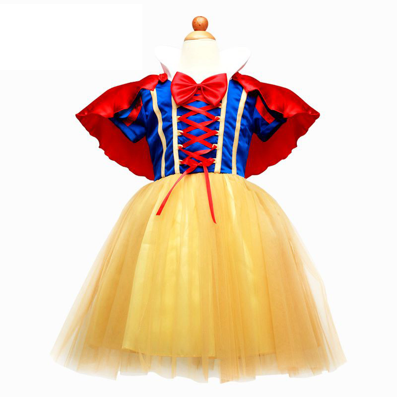 Baby Girls Snow White Party Prom Summer Princess Dress Red Cape Short Sleeve Tulle Dress with Bow Children Cartoon Clothes