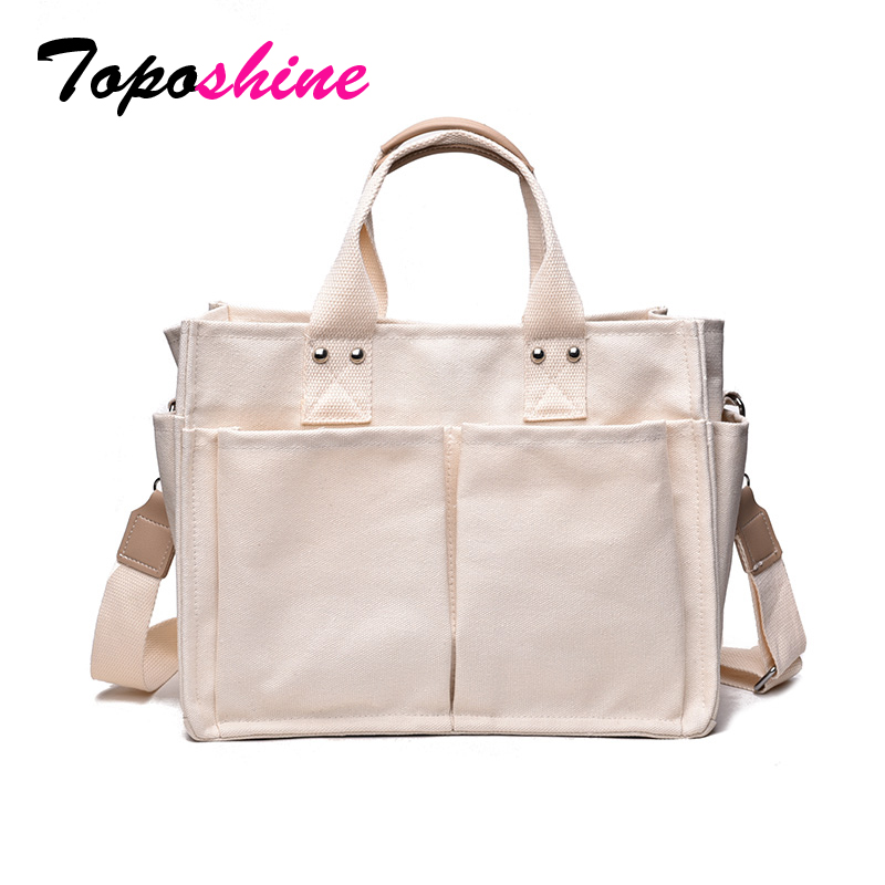 Detail Feedback Questions about Toposhine Strong Canvas Large Capacity Women  Handbag Casual Tote Female Shopping Shoulder Bag Hasp Open Pocket Concise  Girl ... afd7915675