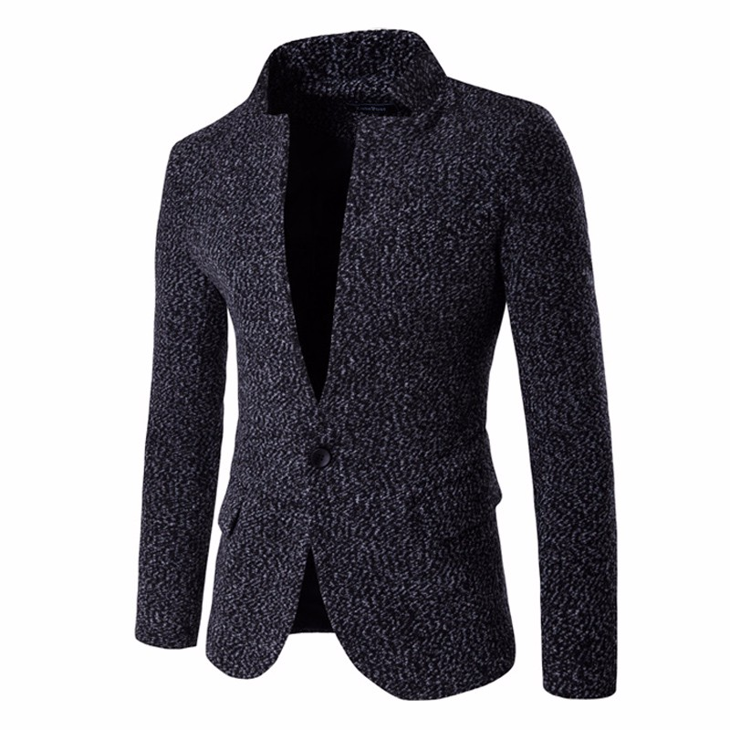 2017 New Style One Button Mens Blazers Jacket Unique Design Long Sleeve Stand Collar Casual Slim