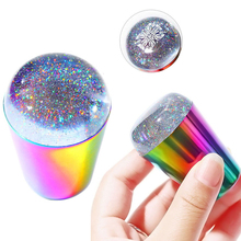 1PC Holographic Nail Stamper and Scraper For Stamping, Rainbow Handle Unique Design Stamper, 3.8CM/4CM Stamping Tool