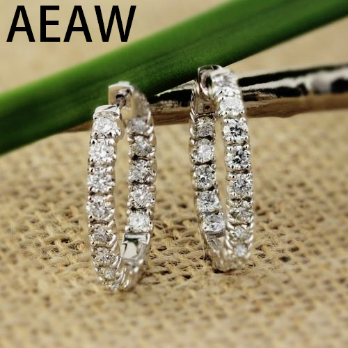 AEAW grande taille Solide 14 K Or Blanc Moissanite Hoop boucles d'oreilles pour femmes 2.5CTW 3mm F Couleur Moissanite boucles d'oreilles diamant