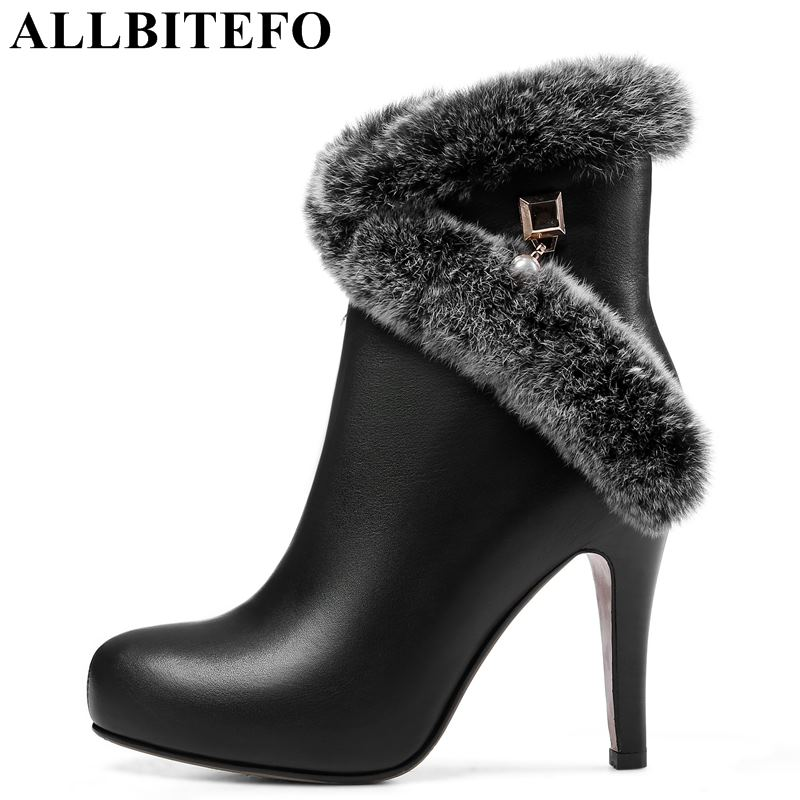 ALLBITEFO genuine leather+ True hair pointed toe high heels women boots high heel shoes snow boots girls shoes ladies shoes allbitefo fashion retro genuine leather pointed toe thick heel women boots ruffles high heels party shoes girls boots size 33 43
