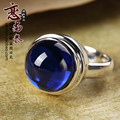 925 Sterling silver Natural Semi-precious stones Retro Bohemia Blue corundum round jade rings Women jewelry girlfriend gift