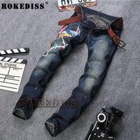 Boyutu 29-38 Sıcak Satış Nakış Kot Erkekler Moda Tasarımcısı Siyah Pantolon Biker Jeans Denim Tulumları Mens Marka Giyim C103