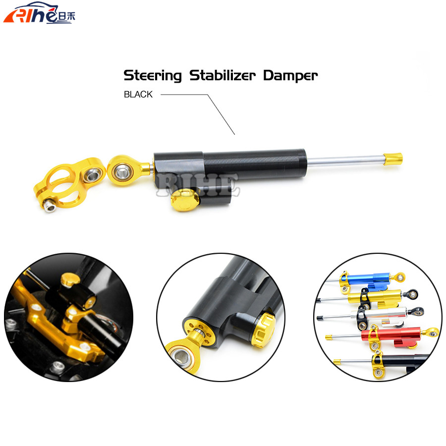 Steering Damper Universal Motorcycle CNC Stabilizer Linear Reversed Safety Control for Triumph Tiger 800 Kawasaki Z1000 Z800 KTM 3 colors universal motorcycle steering damper black color cnc aluminum stabilizer linear reversed safety control motorcycle