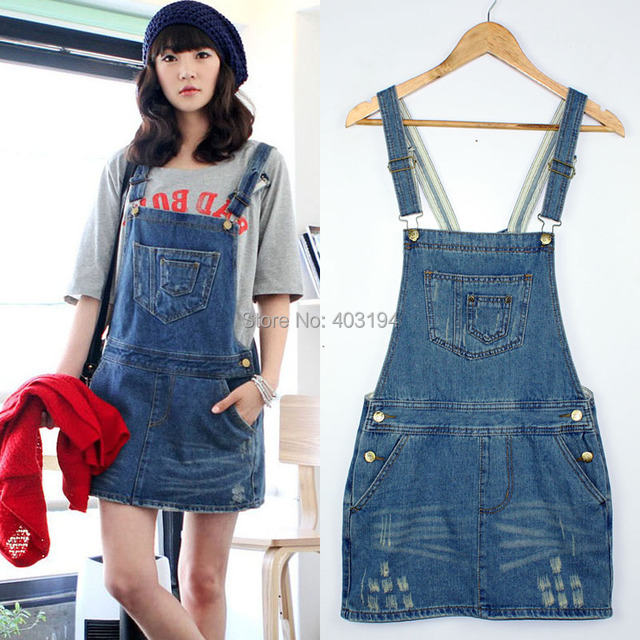 Fashion Girls personalized brief denim short jean dresses overall suspender dress women SSY9411Blue Size S M L free shipping