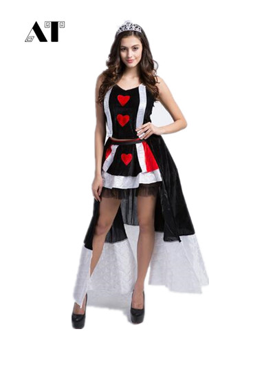 Halloween Cosplay Costumes Women Poker Queen Cosplay Costumes Black Fancy Dress Halloween Cosplay