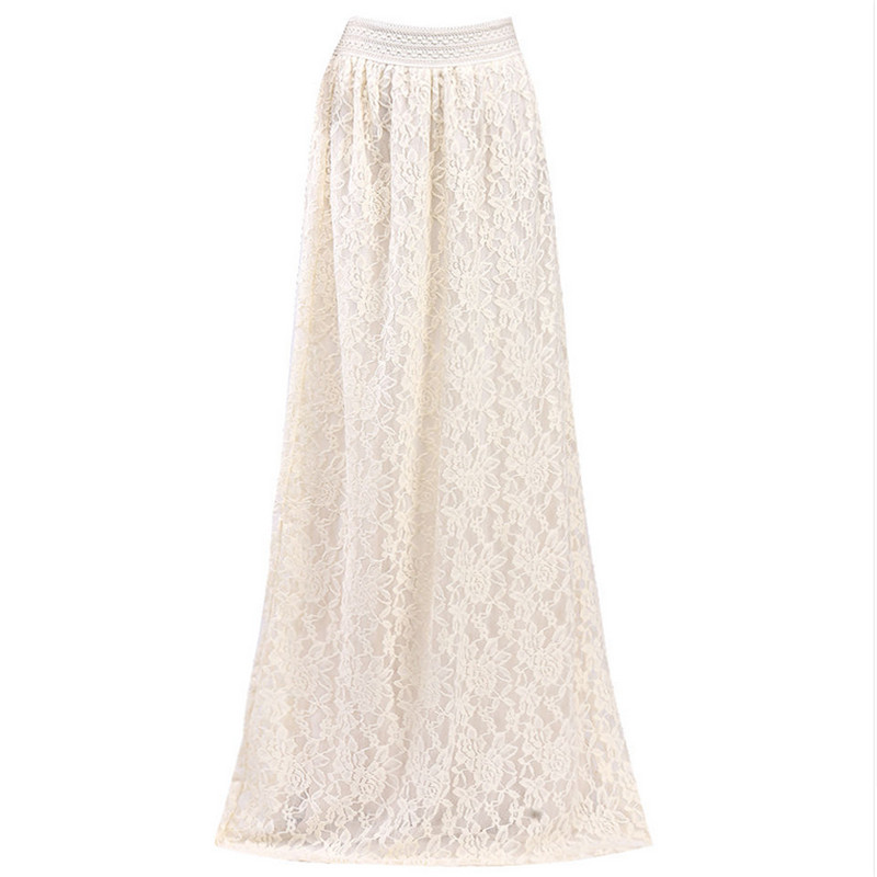 Fashion Women Girl Double Layer Lace Flower Pleated Maxi Skirt High Elastic Waist Long M ...