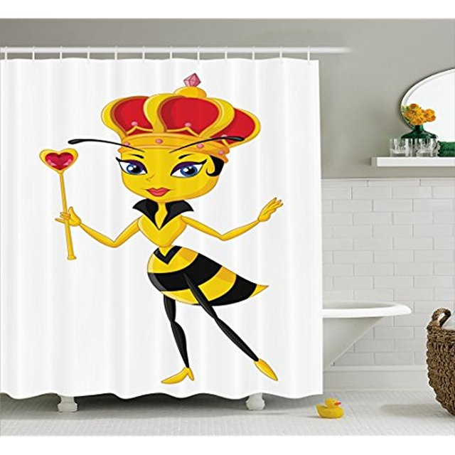 Vixm Queen Bee Shower Curtain Cartoon Style With Crown And Wand Heart Design Insect