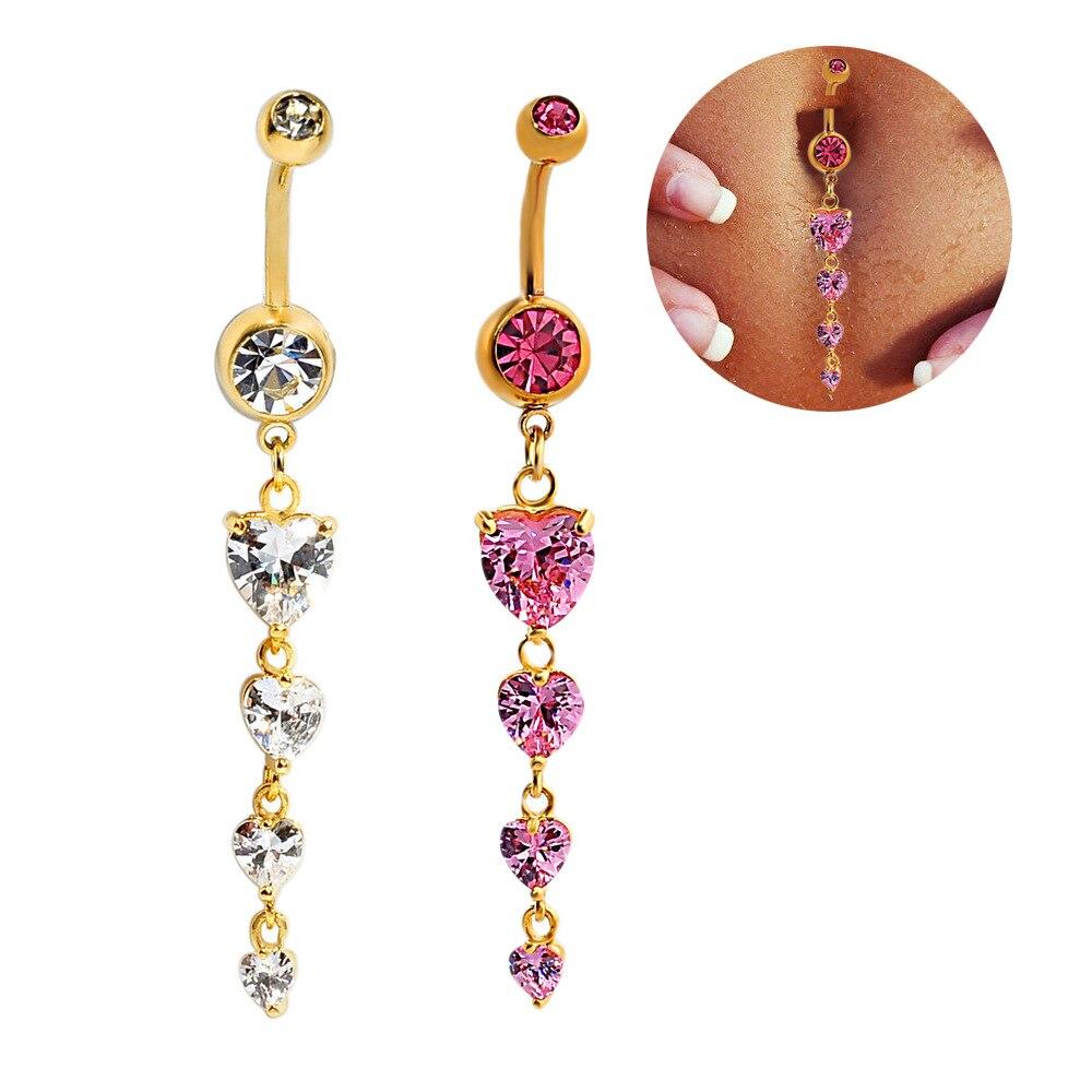 2016 мода пирсинг ювелирные изделия сексуальная хирургической кольца 5 цвет хрустальное в форме сердца пупок кольца пирсинг ombligo