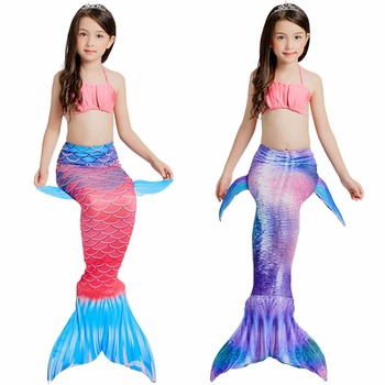 Children Swimming Mermaid Tails Without Monofin Fin Cosplay Costume Girls Kid Swimsuit Ariel Swimmable Mermaid Tail for Swimming