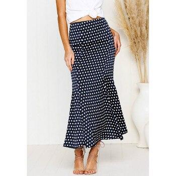 Women Summer Vintage Polka Dot High Waist Elastic Work Office Party Slim Mermaid Pencil Midi Skirt S,M, L,XL polka dot