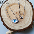 2017 new mother of pearl marquise eye genuine mop blue eye pendant necklace in 925 silver