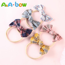 5 Pcs/lot New Plaid Bow Hair Band Nylon Headband For Baby Girls Kid Stretch Headwear Accessories