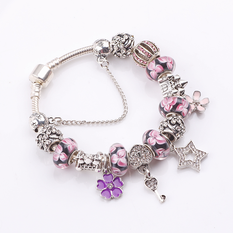 dodocharms Safety Chain Silver Color Charms Bracelet with Purple Glass Beads Pink Clover DIY Bracelet for Women Jewelry Flower