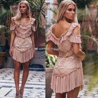 Runway Luxury Embroidery Lace Mini Dress 2018 Designer Women Boutique Sexy Strapless Ruffles Female Dress Vintage Resort Vestido