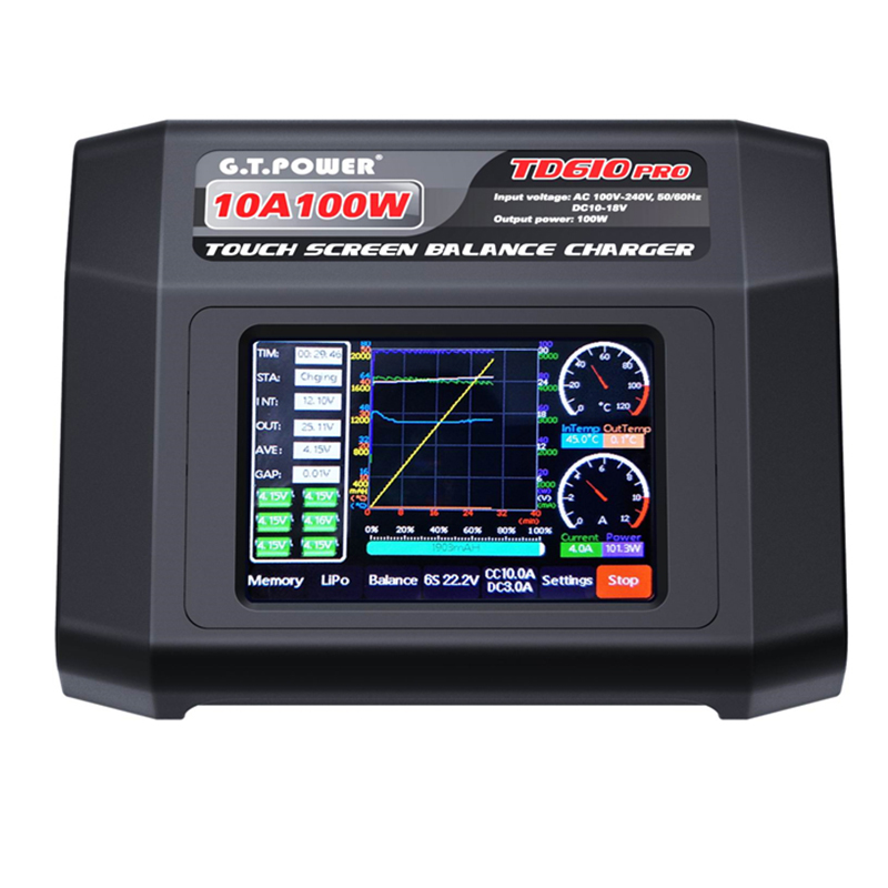 GTP TD610 PRO AC 100 240V Input Color Touch Screen 100W 10A Balance Charger for 1