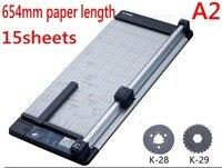 Tamanho A2 654mm Manual rotary trimmer cortador de linha reta máquina de corte de papel 15 folhas