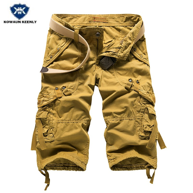 Kowaunkeenly 2018 Summer new arrival High-quality mens loose straight cargo short,Military Multi-pocket shorts men,size 29-40