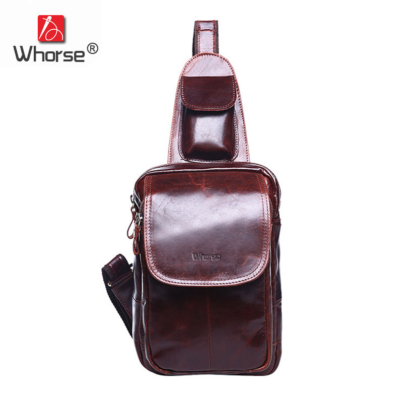 [WHORSE] Brand Luxury Vintage Genuine Leather Men Chest Bag Pack Oil Wax Cowhide Man Shoulder Messenger Travel Bags W02460