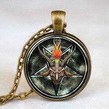 Steampunk Baphomet Inverted Pentagram Statement goat  Pendant Satanism Necklace doctor who 1pcs/lot women mens vintage chain HZ1